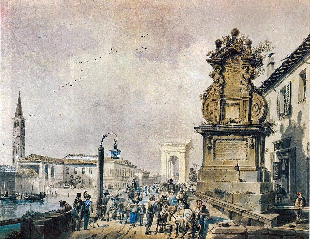 Questa immagine ha l'attributo alt vuoto; il nome del file è Il-Ponte-del-Trofeo-sul-Naviglio-Pavese-a-Porta-Ticinese-di-Giovanni-Migliara-1800-1024x790.jpg