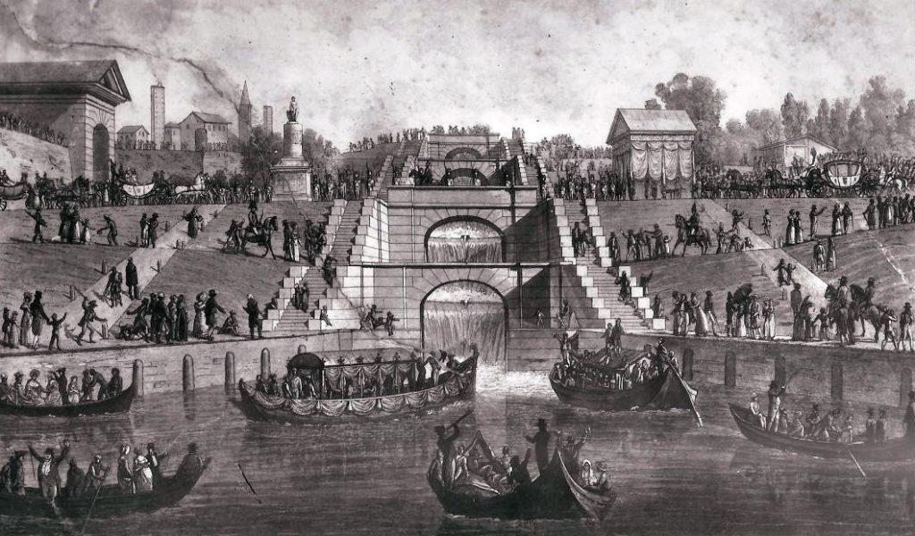 inaugurazione del Naviglio Pavese a Pavia 1819