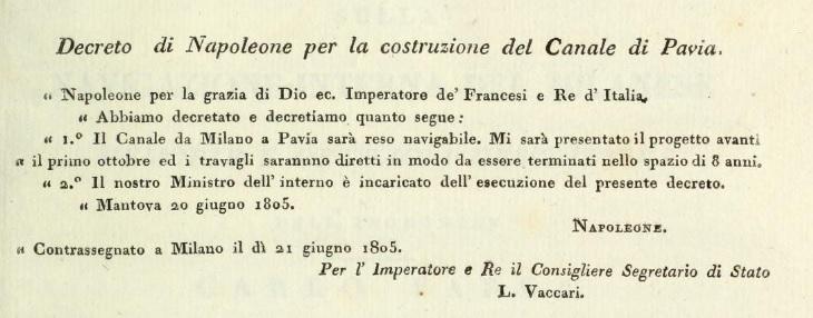 decreto di Napoleone Naviglio Pavese
